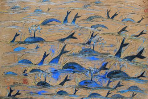 鲸鱼幼稚园-出游图,100x70cm,清迈手工纸、碳笔、色粉、墨汁,2014